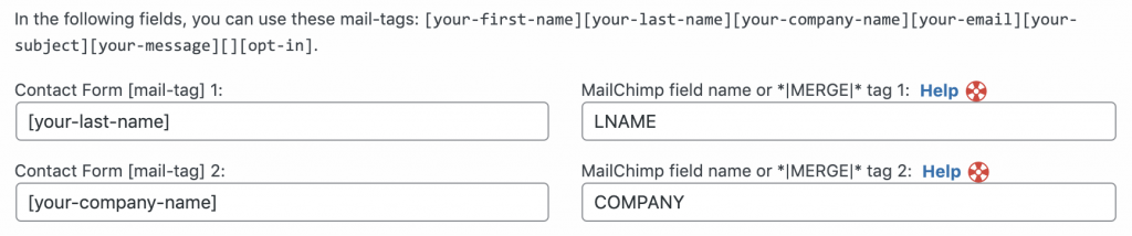 """Set the Custom Fields """"mail-tags"""" to the correct """"Merge Fields"""" in Contact Form 7 Extension For Mailchimp"""